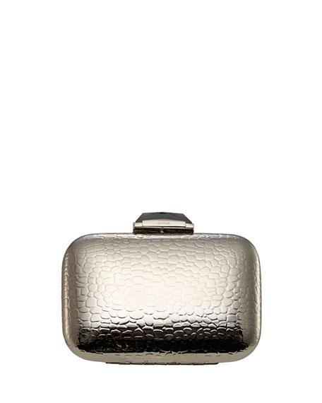 Morley Croc-Embossed Minaudiere, Silver