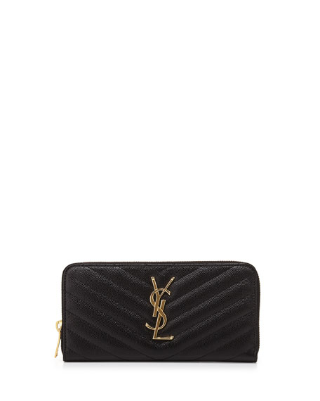 Saint Laurent Monogram Matelasse Zip Wallet, Black
