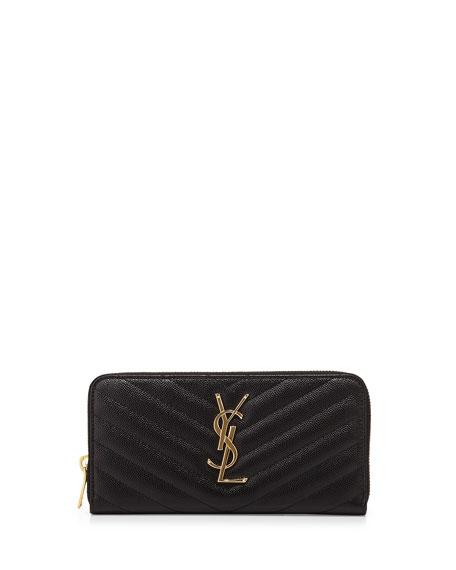 Monogram Matelasse Zip Wallet, Black