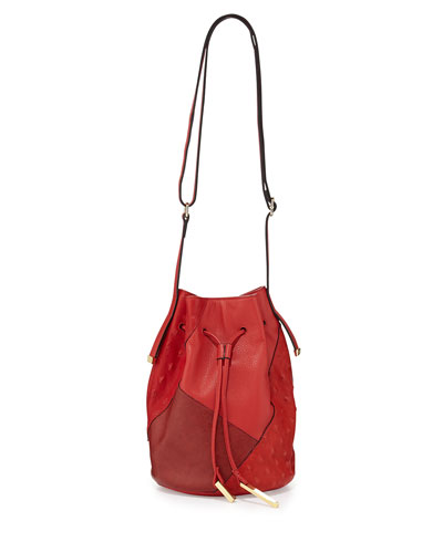 Halston Heritage City Casual Patchwork Bucket Bag, Chili Multi