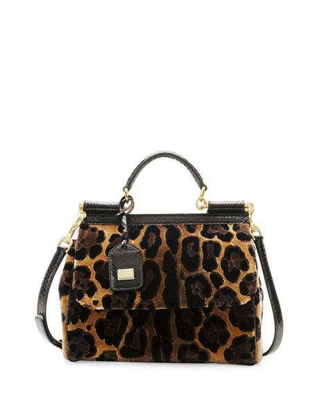 Miss Sicily Leopard-Print Velvet Satchel Bag
