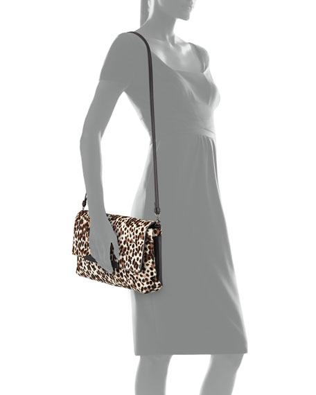 Rougissime Leopard-Print Calf Hair Clutch Bag