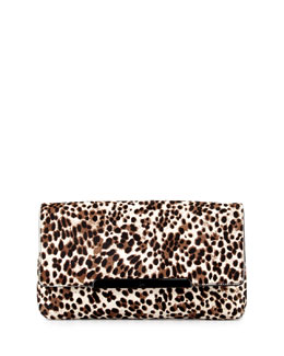 Christian Louboutin Rougissime Leopard-Print Calf Hair Clutch Bag