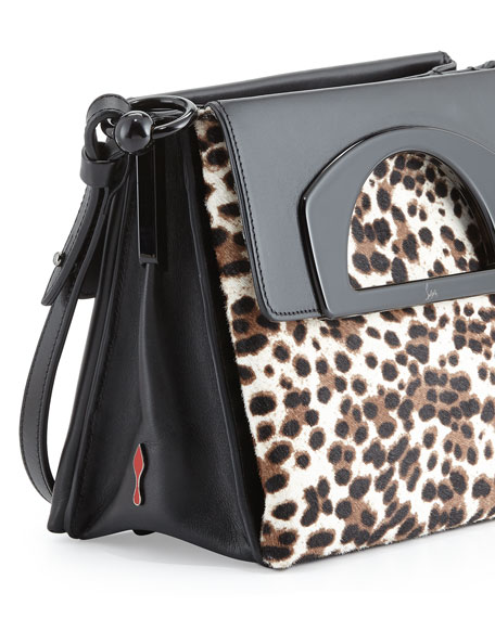Mini Passage Calf Hair Crossbody Bag, Leopard