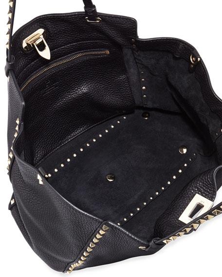 Rockstud Pebbled Tote Bag, Black