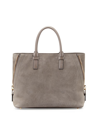 Jennifer Medium Trap Suede Tote Bag, Graphite