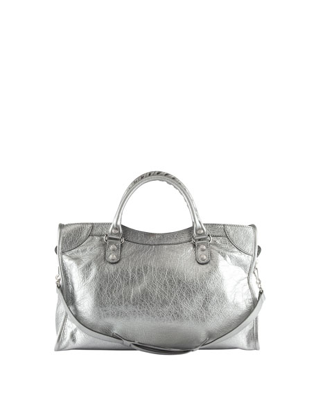 Classic Metallic City Bag, Silver