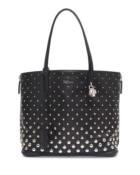 Padlock Small Studded Shopper Bag, Black/White