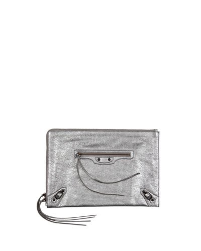 Classic Flat Zip Pouch, Silver