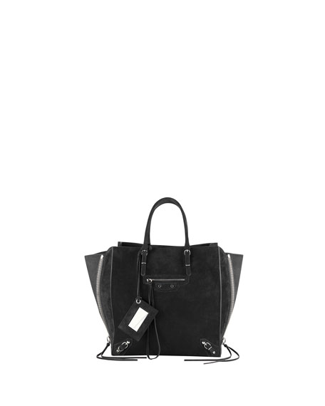 Papier A5 Suede Zip-Around Tote Bag, Black