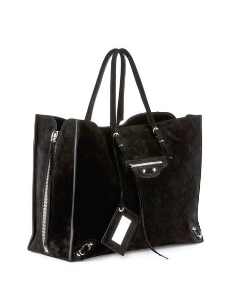 Papier A4 Side Zip Suede Tote Bag, Black