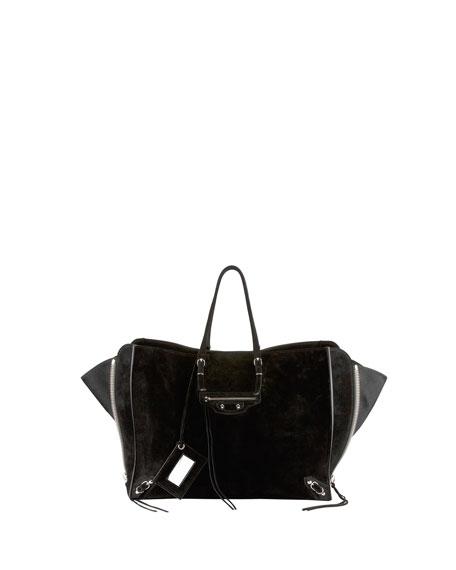 Papier A4 Side Zip Suede Tote Bag, Black
