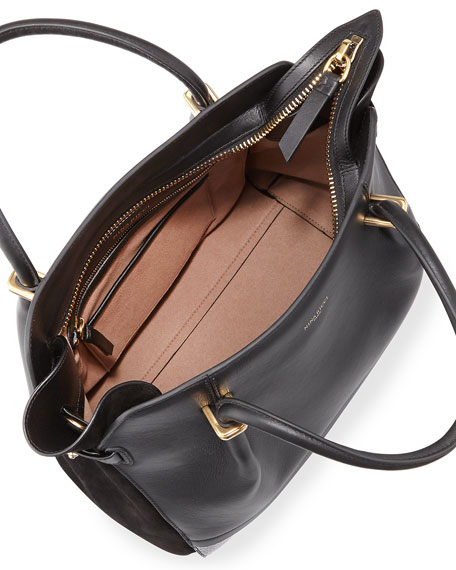 Marche Snake & Leather Satchel Bag, Black