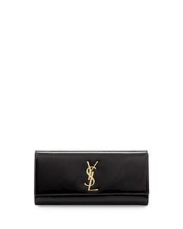 Saint Laurent Monogramme Patent Clutch Bag, Black