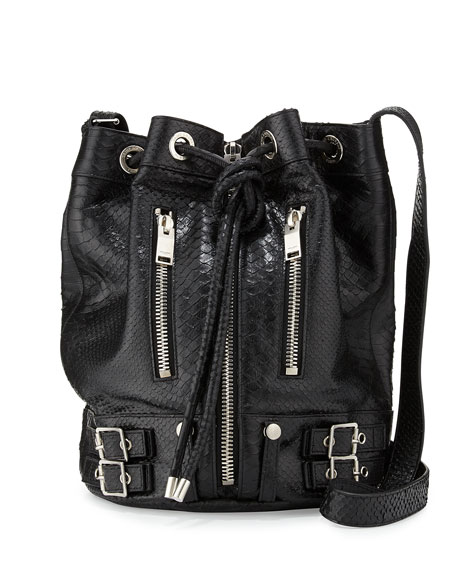 Saint Laurent Rider Medium Python-Print Bucket Bag, Black