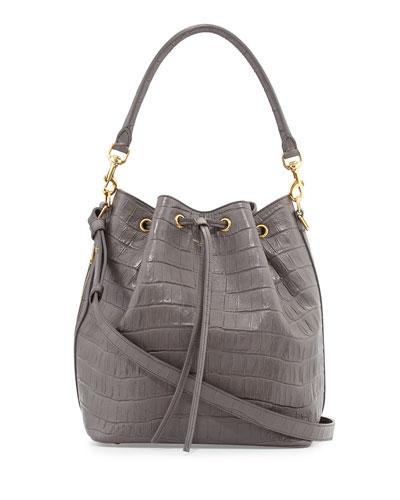 Medium Croc-Print Bucket Shoulder Bag, Gray