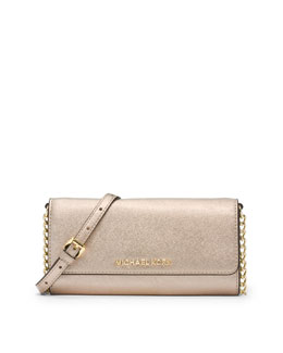 Jet Set Travel Wallet On A Chain, Pale Gold