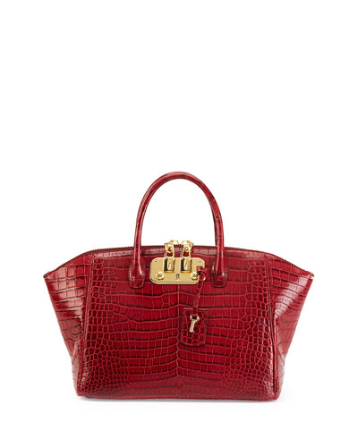 VBH Brera 32 Crocodile Satchel Bag, Cranberry