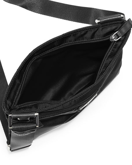 Vela Flat Crossbody Bag, Black (Nero)