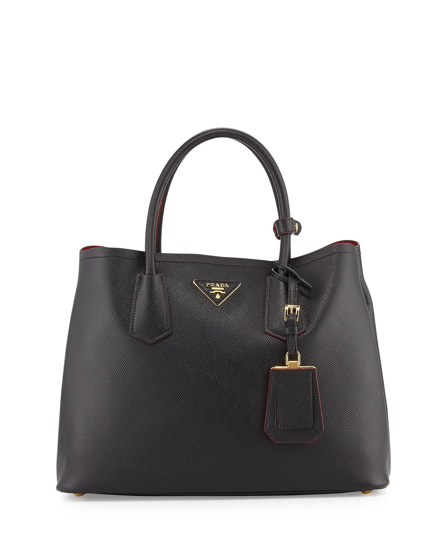 cf63b69d81727a Prada Saffiano Cuir Small Double Bag | Neiman Marcus