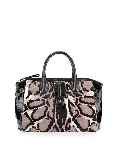 Leopard-Print Medium Mixed-Media Satchel Bag, Black/White