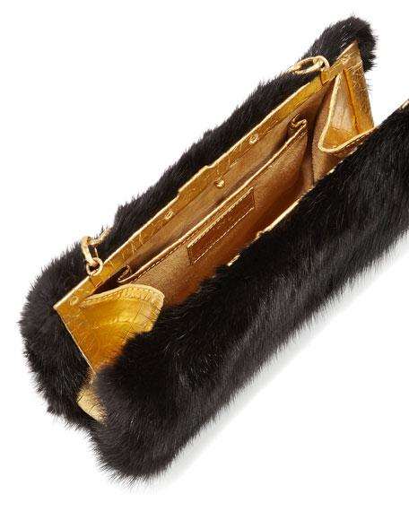 Small Framed Mink Fur Clutch Bag, Black