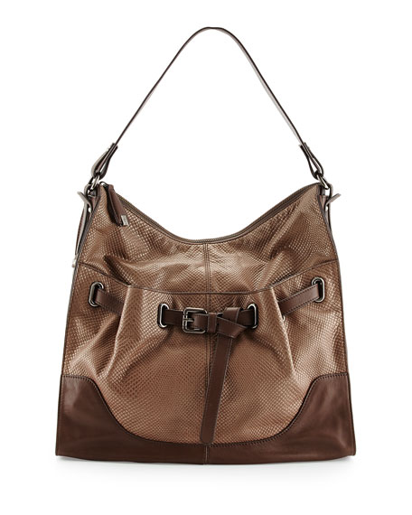 Kylie Belted Leather Hobo Bag, Cobra Truffle