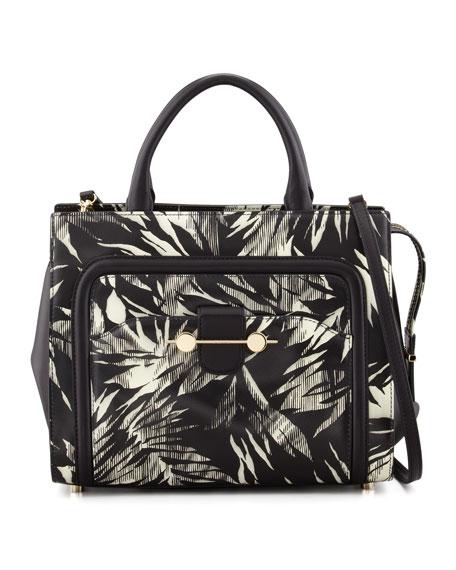 Daphne 2 Tropical-Print Tote Bag, Black/White