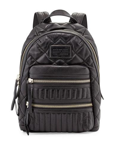 Domo Biker Leather Backpack, Black
