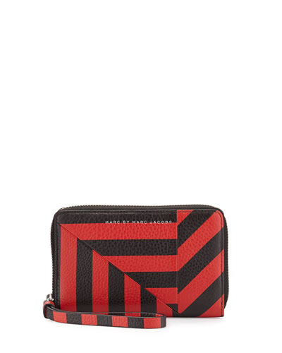 Turn Around Striped Wingman Zip Wallet, Cambridge Red Multi
