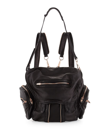 Mini Marti Leather Backpack, Black/Rose Gold
