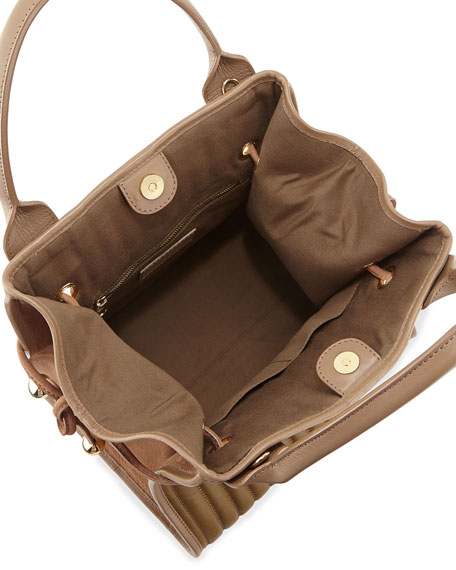 Sheen Quilted Leather Tote Bag, Military