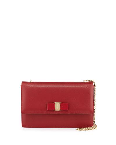 Ginny Saffiano Shoulder Bag, Rosso