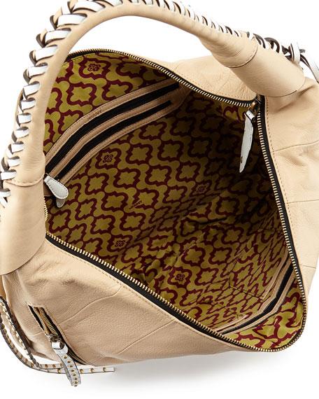 Jasmine Zip Hobo Bag, Sand