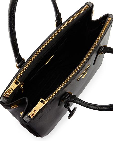 4e8faa257329e7 Prada Saffiano Lux Bicolor Double-Zip Tote Bag, Gray/Black (Mercurio+Nero)