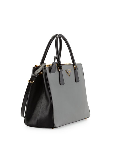 prada black saffiano lux leather large double zip tote bag
