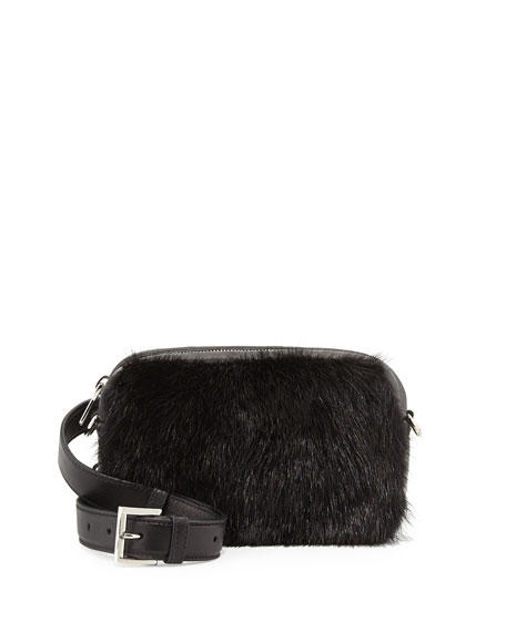 Nappa Bomber & Mink Fur Belt Bag, Black (Nero)