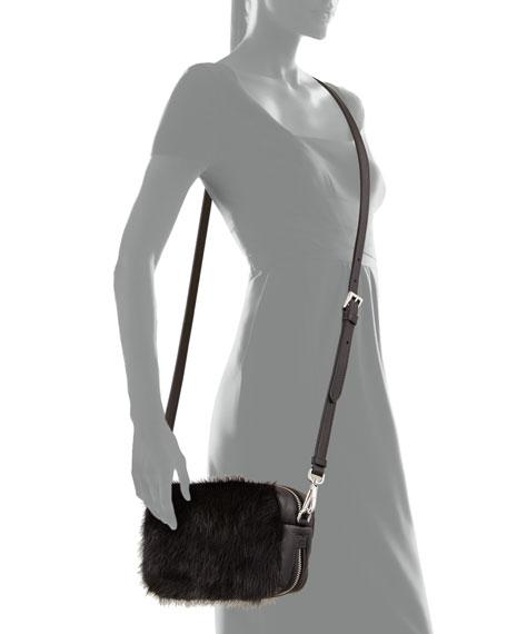 Nappa Bomber & Mink Fur Belt Bag, Black (Nero)