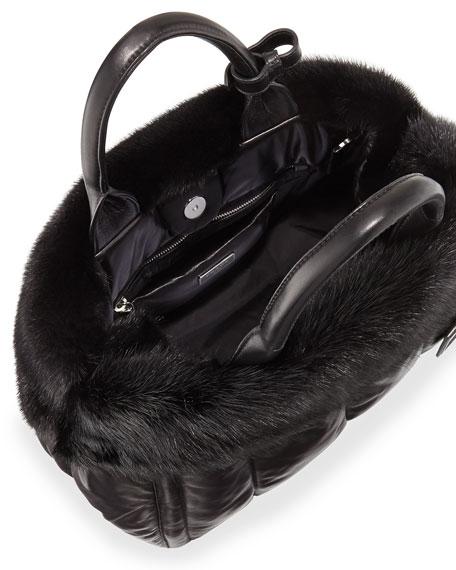 a299208707e6de Prada Nappa Bomber & Mink Fur Garden Tote Bag, Black (Nero)