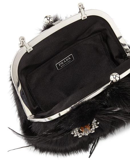 "Mink Fur ""Cat Bag"" Pochette, Black (Nero)"