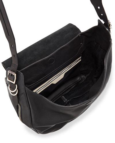 Rag Bone Bradbury Leather Flap Hobo Bag Black