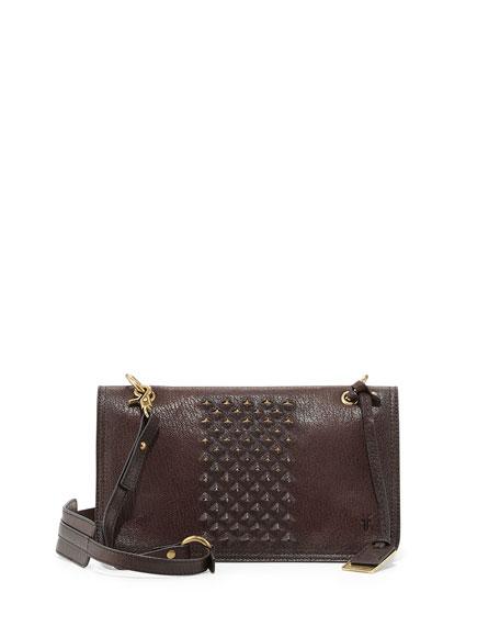 Jesse Stud-Detail Crossbody Bag, Dark Brown