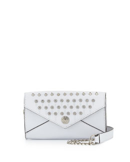 Rebecca Minkoff Studded Mini Wallet-On-A-Chain, White