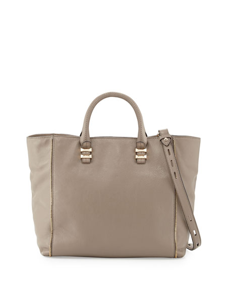 Perry Mini Zip-Trim Tote Bag, Taupe