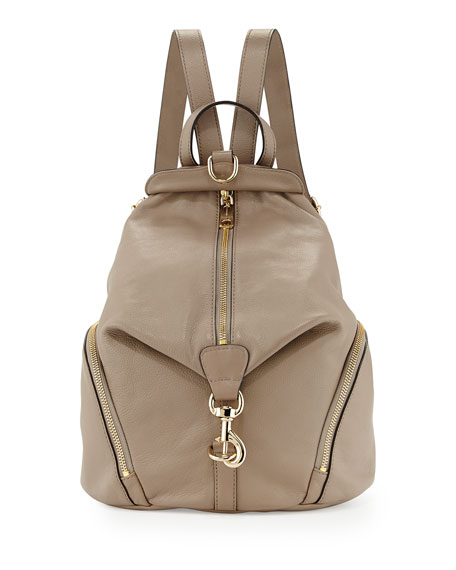 Julian Zipper-Trim Leather Backpack, Taupe