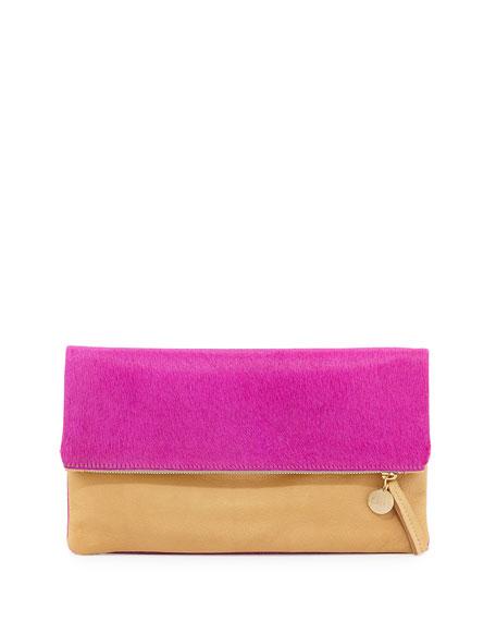 Colorblock Calf Hair Fold-Over Clutch Bag, Fuchsia/Tan