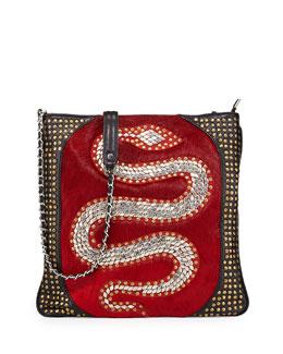Oryany Genny Snake Stud Calf Hair Crossbody Bag, Crimson