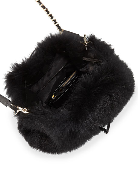 Alice + Olivia Shearling Fur Bucket Bag, Black