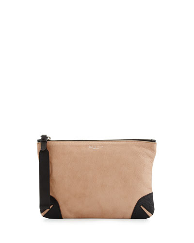 Leather Zip Wristlet Pouch, Nude
