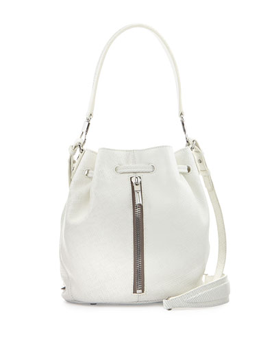Elizabeth and James Cynnie Mini Leather Bucket Bag, White